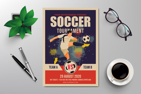 soccer tournament flyer template, simple retro design vector