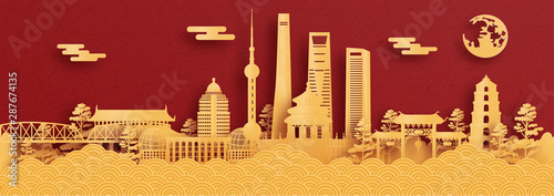 Fototapete Panorama postcard and travel poster of world famous landmarks of Shanghai, China in paper cut style vector illustration