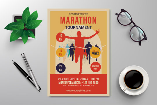 marathon tournament flyer template, simple retro design vector