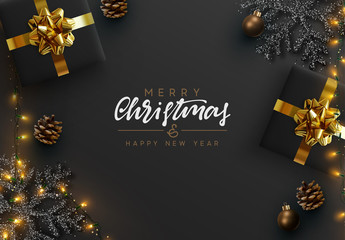Fototapete - Christmas banner. Background Xmas design of sparkling lights garland, realistic gifts box, black snowflake and glitter gold. Christmas poster, greeting cards, headers, website. Stylish black pattern