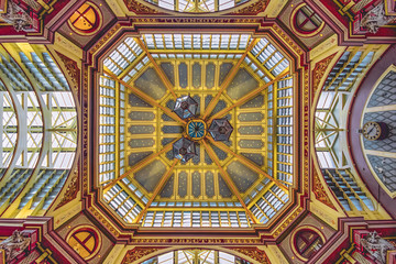 Fotobehang Stained Ladenhall market celling. Colorful, symmetric