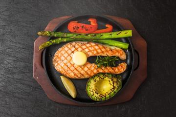 サーモンステーキ Typical delicious grilled salmon steak