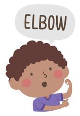 Kid Boy Naming Body Parts Elbow Illustration