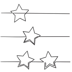continuous line star with handdrawn doodle style vector