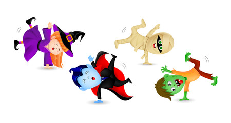 Halloween cartoon set with cute kids in holiday costumes: witch, count dracula, zombie and mummy. Illustration isolated on white background.