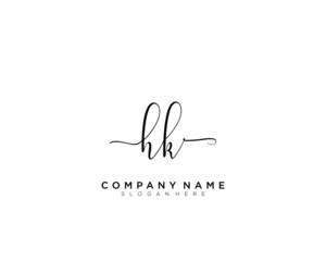 H K HK Initial handwriting logo vector