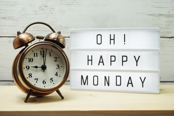 Poster Positive Typography Happy Monday lightbox alphabet wording on wooden background