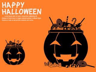 Halloween candy in the pumpkin bucket Wall mural
