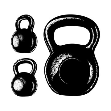 Weight. Kettlebell hand drawn vector illustrations set. Weights sketch drawing.