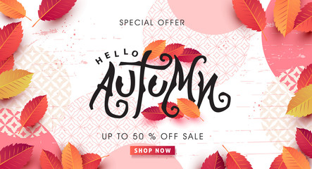 Fototapete - Autumn calligraphy . Seasonal lettering.autumn sale  banner background.vector illustration