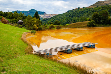 nature pollution from copper mine at lake Geamana, Romania