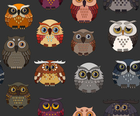 Seamless pattern with cute owls on a dark background