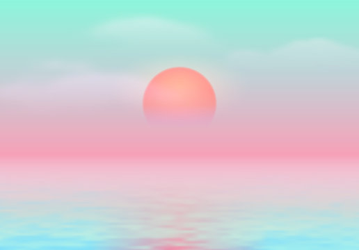 Sun over the sea with sun road and vaporwave 90s styled green and pink colors