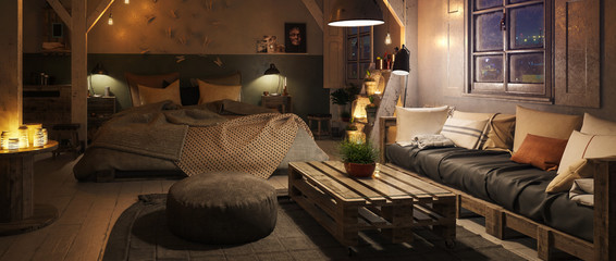 Truss Loft Bedroom with Pallet Furniture by Night (panoramic) - 3d visualization