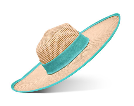 Straw hat with blue ribbon on isolated white background. Elegant hat with wide margins.