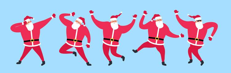 cute dancing santa claus set vector illustration merry christmas