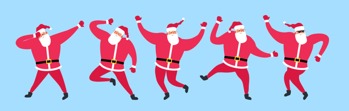cute dancing santa claus set vector illustration merry christmas