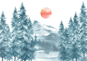 Watercolor picture of mountains, forest with pine trees, fir, cedar.  Postcard, picture, poster, logo. Country forest landscape. Red sun. Sunset, sunrise, full moon, eclipse. Misty Autumn Forest