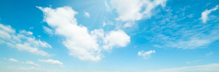 Beautiful blue sky cloudsfor background. Panorama of sky. Fototapete
