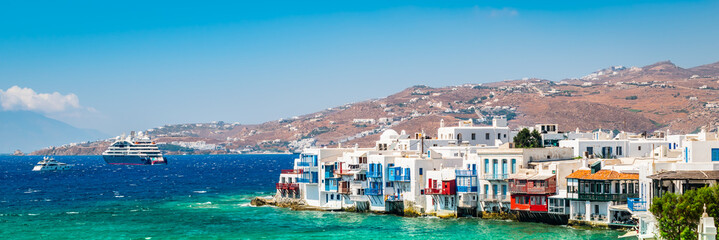 Wall Mural - Panoramic landscape view of Little Venice in Mykonos, Greece.