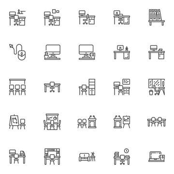 Office workplace line icons set. linear style symbols collection, outline signs pack. vector graphics. Set includes icons as workplace desk with computer monitor, chair, presentation screen, window