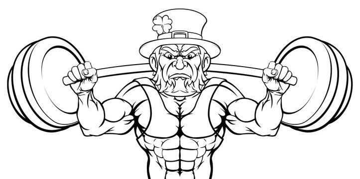 Leprechaun cartoon sports mascot weightlifter character lifting very large barbell weight