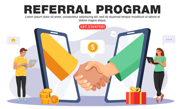 Refer a friend or Referral marketing concept. Business people shaking hands. Hands in big smartphone. People share info about referral program. Social communication for friends. Vector.
