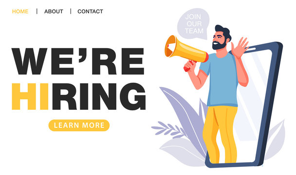 We are hiring concept. Recruitment agency. Man shouting on megaphone with join our team word. Big smartphone screen. Landing page template. Vector illustration.