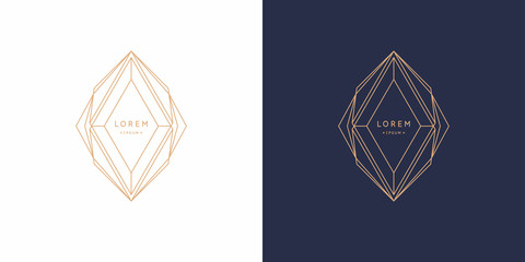 Abstract element with gold lines. Vector illustration.