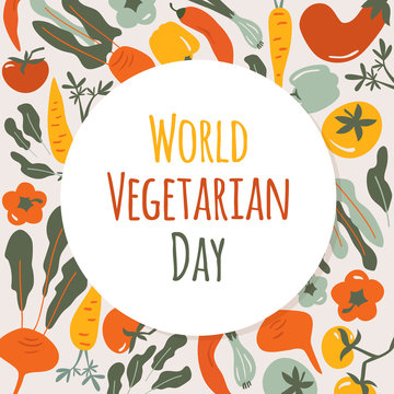 World Vegetarian Day card. Autumn vegetables round composition with natural healthy food. Colorful hand drawn illustration in cartoon style.