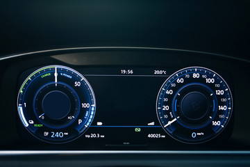 Electric car dashboard with backlight and engine starting