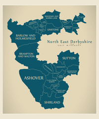 Wards map of North East Derbyshire district in East Midlands England UK with labels