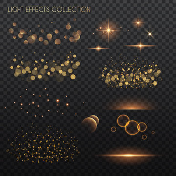 Light effects collection. Copper lights effects. Sparkle and glitter. Vector illustration.