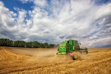 John Deer combine harvester, Germany, Lower Saxony, August 2013
