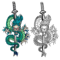 Tattoo art dargon hand drawing black and white  and sketch colors