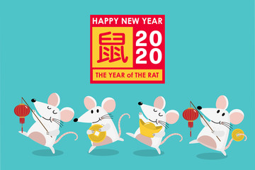 Happy Chinese new year greeting card. 2020 Rat zodiac. Cute mouse and gold money. Animal cartoon character set. Translate: Rat. -Vector