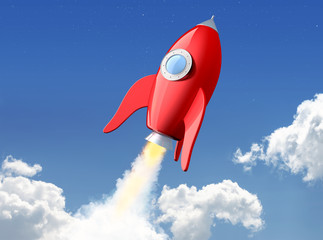 3D rendering of cartoon funny red rocket launching in the clouds. File contains a path to isolation for spaceship.