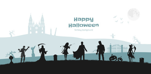 Halloween banner with fantasy silhouettes. Landscape of cemetary with mummy, witch and frankenstein. Holiday scene of october party. Horror panorama Wall mural