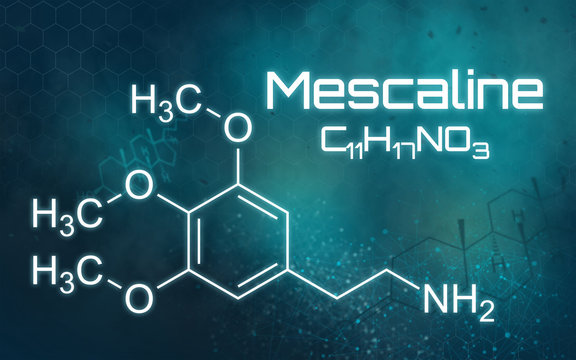 Chemical formula of Mescaline on a futuristic background