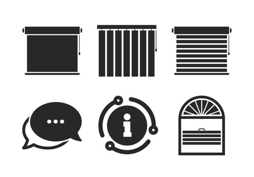 Plisse, rolls, vertical and horizontal. Chat, info sign. Louvers icons. Window blinds or jalousie symbols. Classic style speech bubble icon. Vector