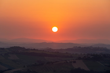 Sunset over the mountains near the village of Montefiore dell'aso in Italy