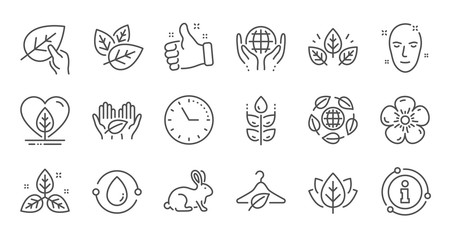 Organic cosmetics line icons. Slow fashion, synthetic fragrance, fair trade. Sustainable textiles, animal testing, eco organic icons. Linear set. Quality line set. Vector
