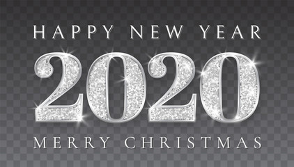 Happy New Year and Marry Christmas 2020, silver numbers design of greeting card, Xmas , Vector illustration Wall mural