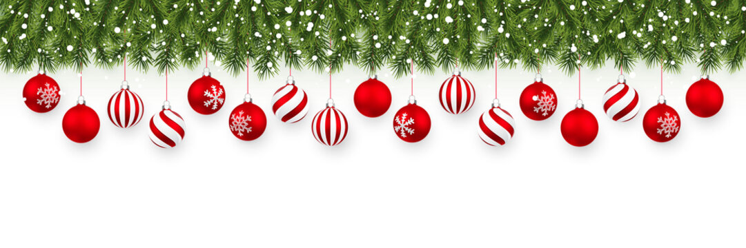 Festive Christmas or New Year garland. Christmas Tree Branches. Holiday's Background. Vector illustration