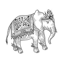 Indian elephant animal sketch engraving vector illustration. Tee shirt apparel print design. Scratch board style imitation. Black and white hand drawn image.