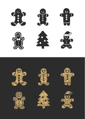 Set of cute gingerbread cookies for christmas. Isolated on black and white background. Vector illustration.