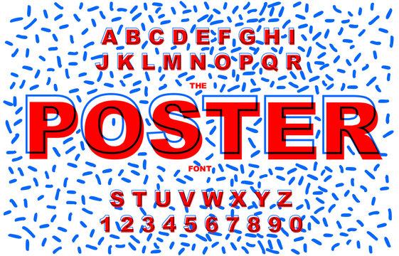 80 s retro alphabet font. Vintage Alphabet vector 80 s, 90 s Old style graphic.