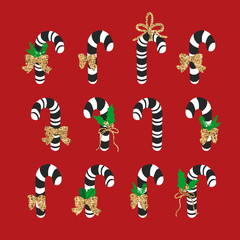 Christmas cane candy. Vector. Stick isolated on red  backgrond.