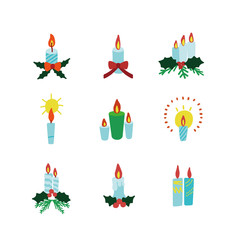 Set of Christmas candles Illustration with fir branches and holly. Vector illustration.
