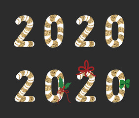 2020 logo with Christmas cane candy. Vector. Stick isolated on black  backgrond.